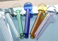 amber colored glass - 10pcs Super big colored Oil Burner Thick cm glass pipe colorful glass tube glass puff bowl blue green amber pink all clear
