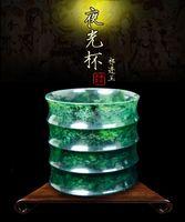 Wholesale Luminous wine glass bamboo cups jiuquan luminous wine glass gansu luminous wine glass qilian jade tea set tea wine wine mail