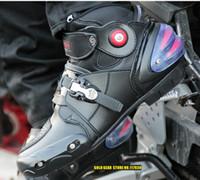 al por mayor botas de la carrera de carretera-Pro-motorista zapatos de carreras A9003 automóvil todoterreno cargadores de la motocicleta moto Profesional botas negras velocidad Deportes Motocross Negro