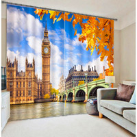 ben x - Top D View printing Blackout Curtain Custom UK Big Ben Maple Leaf Window Children s Curtain for Living Room A