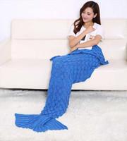 Wholesale 2016 Fashion Handmade Knitted Mermaid Tail Blanket Keep Warm crochet mermaid blanket adult throw bed Wrap sleeping bag cm