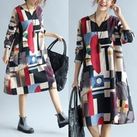 clothes for fat women - Autumn dresses for women clothes Floral print Linen Long sleeve Comfortable Loose Fat women Casual dress