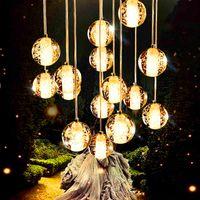 bedroom bar club - Restaurant stair bar club hotel bar cafes droplight leds head crystal glass ball meteor shower droplight years warranty