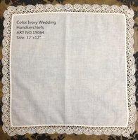 ladies handkerchiefs - Home Textile Belgium style Ivory Ladies Handkerchief x12 quot Color Ivory cotton lace edging Ladies Handkerchief for the bride