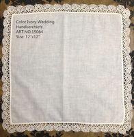 Wholesale HomeTextiles Belgium style Ivory Ladies Handkerchief x12 quot Color Ivory cotton Elegant Embroidered crochet lace edges For Bride