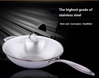 Wholesale High quality non stick wok uncoated stainless steel wok no fumes Layer wok pan wok cooker gas cooker