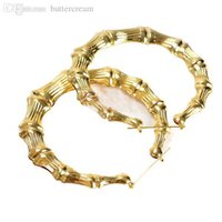 bamboo sunshine - Hot sales Sunshine Jewelry Gold Bamboo big circle hoop earrings A2593 With