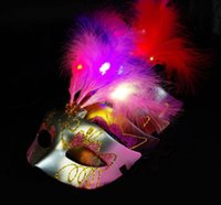 Wholesale New Fashion Women Bauta Luminous Mask Feather Half Face Masquerade Masks Mysterious LED Festive Party Masks Mardi Gras Costume