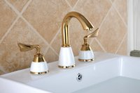 Wholesale Widespread double handle brass basin faucet hot cold mixer tap golden plated holes water tap faucet