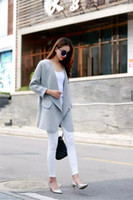 Wholesale New Style Fashion Female Long Cardigan Loose Pure Color Lapel Bordure Slim Sweater Coat Without Button