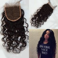 Wholesale x4 lace closure water wave peruvian hair bleached knots free part swiss lace closure