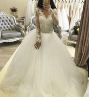 Wholesale New Arrival Lace Wedding Dresses with Long Sleeves Arabic A Line Crew Applique Court Train Sheer Plus Size Bridal Gowns Ball Gown