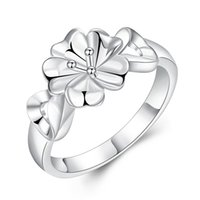aesthetic sterling - Aesthetic Exquisite Flower with Double Heart Ring Sterling Silver Plated Jewelry for Girl Lady Party Accessories for Different Occasion