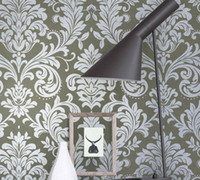 Wholesale Europe style eco friendly Silver Grey floral Damask wallpaper silver damask wall paper non woven vintage gray wallpaper roll