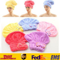 Wholesale 5 Color Microfiber Magic Bowknot Shower Caps Hair Dry Drying Turban Wrap Towel Hat Cap Quick Dry Dryer Bath cm FB T01