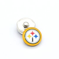 american bowls - NOOSA Pittsburgh American football steelers snap button super bowl fans ginger snap chunk charm Clasps YD0350