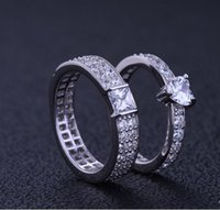 Wholesale Gift couple lover s rings sterling silver with zirconia stone diamond wedding ring Korean simple character
