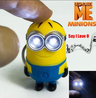 action flashlights - Despicable Me Minions Led Keychain Cute Action Figure Toy Key Chain Wih Flashlight And Sound quot i Love U quot gift For Girlfriend ZKMDM