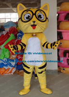bell tiger - Genial Yellow Glasses Cat Kitten Tiger Mascot Costume Cartoon Character Mascotte Adult Long Tail Small Bell NO Free Ship