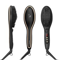 Wholesale Straightening Iron With LCD Display Electric Straight Hair Comb Hair Straightening Brush Ceramic Coated LCD Digital