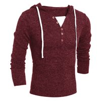 Wholesale New Brand Mens Hooded Sweater Red Beige Grey Solid Knitted Clothing Men Pullovers and Sweaters Male Casual Knitwear Jumpers Sale