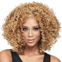 american hair weave - Top grade Short Curly wigs Blond color kinky curly hair wig weave Synthetic Ladys Hair Wig Fashion Style Africa American hair cap Wig