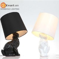 Wholesale Modern Table Lamps With Black White Shade Lovely Resin Rabbit Table Lights For Bedside Decoration For Bedroom
