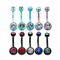 belly button gauges - Fashion of Pack Belly Rings Body Jewelry Piercing Gauge Stainless Steel Crystal Gem Belly Navel Button Ring
