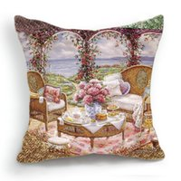 balcony cover - 45CM Cushion Cover Pillow Case Throw Home Sofa Decorative Balcony Wicker Chair Tea Time Flower