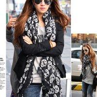 Wholesale Scarves Wraps skulls voile fabric scarf female fashion warm shawl large size cm