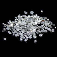Wholesale Silver Color Half Round Resin Pearls mm And Mixed Sizes Flatback Glue On Craft Beads DIY D Nails Art Decorations