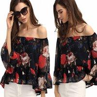 beach designs clothing - New Design Printed Summer Beach Shirts Blouses Chiffon Flowers Sexy Off Shoulder Cheap Women Clothes FS0753
