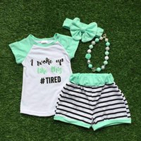 Wholesale 2016 girls outfit woke up tired set mint black stripes kids boutique short sets years old girls clothing with accessories