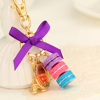 Porte-clés ruban France-Creative Macarons Cake Keychain LADUREE Effiel Tour Ruban Porte-clés Anneau Femmes Sac à main Sac Charm Fashion Trinket Wholeasle