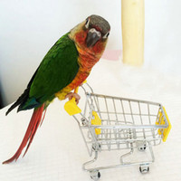 Wholesale Mini Shopping Cart Parrots Intelligence Toy for Bird Hamster Grey Parakeet Supplies Supermarket Kids Growth Small Pets Trolley Multi color