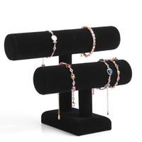 2 Couche Bijoux Velvet Bracelet Montre Collier Présentoir angle Montre Holder T-bar multi-modèle en option Livraison gratuite