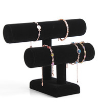 angle bars - 2 Layer Velvet Jewelry Bracelet Necklace Watch Display Stand angle Watch Holder T bar Multi style Optional