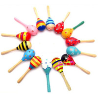 Wholesale 1Pc Kid Baby Wood Maraca Rattle Shaker Percussion Musical Instrument Toy A00019 SMAD