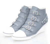 Wholesale Women s Ash Genial Buckle Small Wedge Sneakers Grey Genuine Leather ASH Trainers Sheepskin Fashion Tide ASH High top Wedge Sneaker Shoes