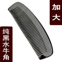 Wholesale authentic genuine natural black buffalo horn comb large anti static head massage anti hair loss hair