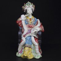 antique lady doll - Handmade Ceramic Statue Collectibles Antique Imitation Porcelain Figurine Chinese Lady Sculpture Arts of Shiwan Doll for Home Decor