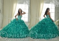 Wholesale Strapless Ball Dresses Prom - Fashion Aqua Cheap Quinceanera Dresses Ruffles Sweetheart Ball Gown Sweet 16 ORganza Rhinestones Bling Sequined Party Prom Evening Dress