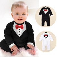 Wholesale Newborn Baby Boy Rompers Cotton Tie Gentleman Suit Bow Leisure Body Suit Clothing Toddler Jumpsuit Baby Boys Brand Clothes M