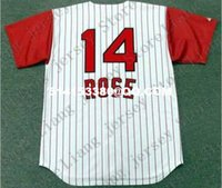 Wholesale Deluxe Edition Retro PETE ROSE s Baseball Jersey Throwback White red stripe Mens Stitched Jerseys