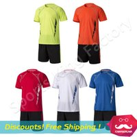 authentic football kits - Authentic Soccer Jersey Kit Men football game training suit short sleeved high quality polyester fabric jersey shirts kit