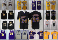 arrival los angeles - A High Quality new arrival Los Angeles Kobe Bryant retro blue white yellow short jersey for mens