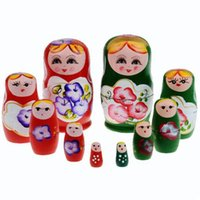 Wholesale 5Pcs set Wooden Russian Hand Painted Nesting Dolls Set Wooden Russian Nesting Babushka Matryoshka Color Hand Painted Toys Gift