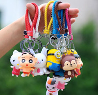 big eye keychain - keychains Movie Cartoon Key Chain Despicable Me D Eye Small Minions Figure Kid toy KeyChain gift yellow people Key Ring my