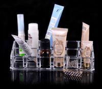 Wholesale 12 Lattice Acrylic cosmetic storage box transparent Lip Gloss Lipstick shelf storage box Clear