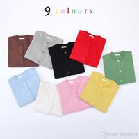 Wholesale 9color Children Fashion Sweater Kids Ins Long Sleeved Knit Cardigan Baby boys girls Outerwear Crochet Knitwear Coat E1238